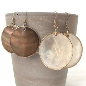 Shell style earrings with gold color edging
